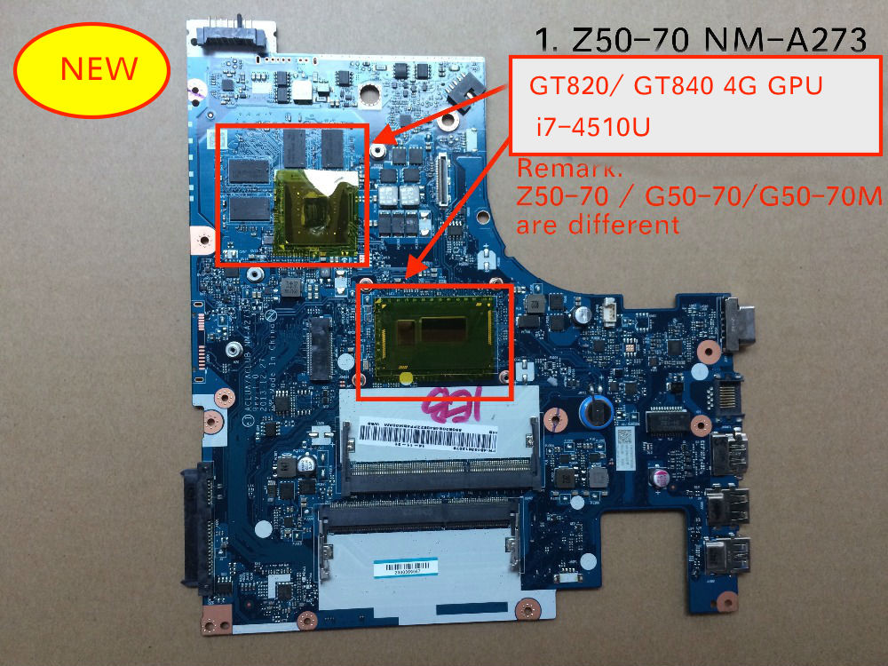 Original New For Lenovo Z50-70 ACLUA ACLUB NM-A273 Laptop Motherboard I7-4510 4GB