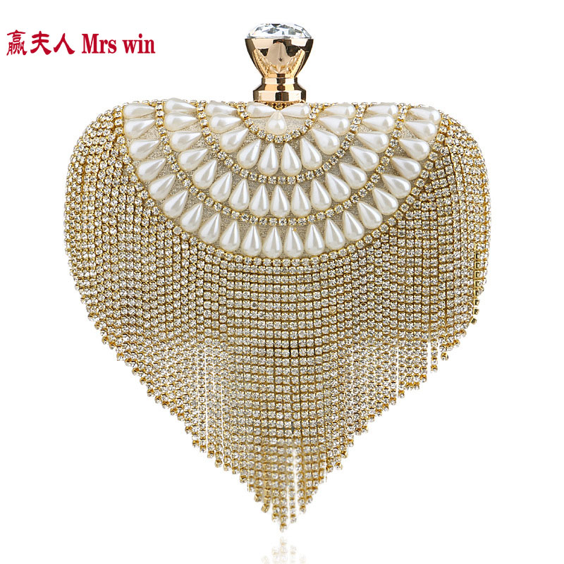 2017 Tassel pearl Rhinestone Finger Ring Evening Bags Diamonds Wedding Handbags Women Day Clutch Mini Purse Bag With Chain YHB44 new sequin clutch bag finger ring evening bag hard box clutch chain sshoulder bag crossbody bags for women purses and handbags