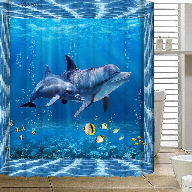 180x180cm Polyester Waterproof Shower Curtain 3D Submarine World Dolphin  Thicken Bathroom Curtain High Grade Cortina