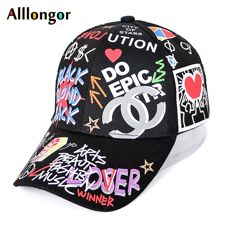 Women Baseball Caps Men 2019 Summer Cap Graffiti Hat Letter Print Snapback Hip Hop gorra hombre casquettes femme White Black hat