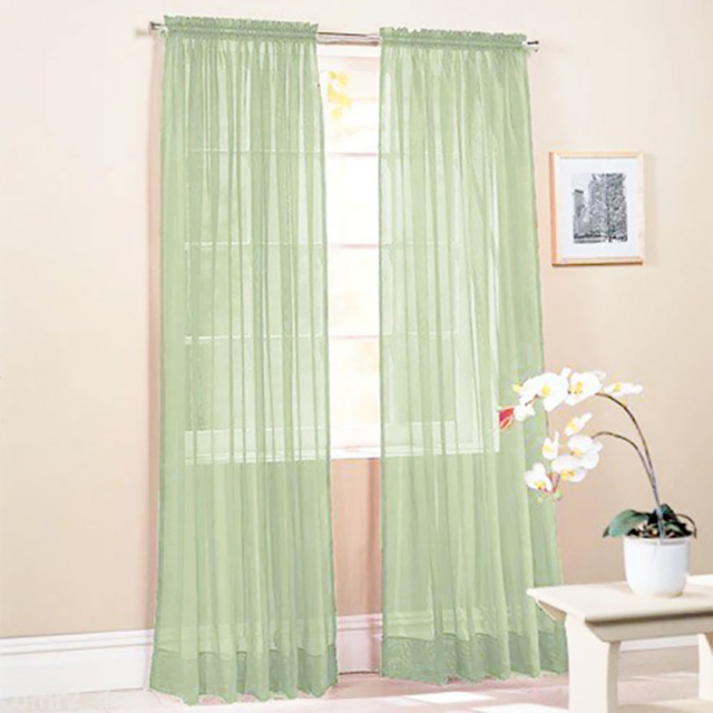 High End Clic New Solid Color Voile Sheer Curtain Panel Window Curtains 100 200cm