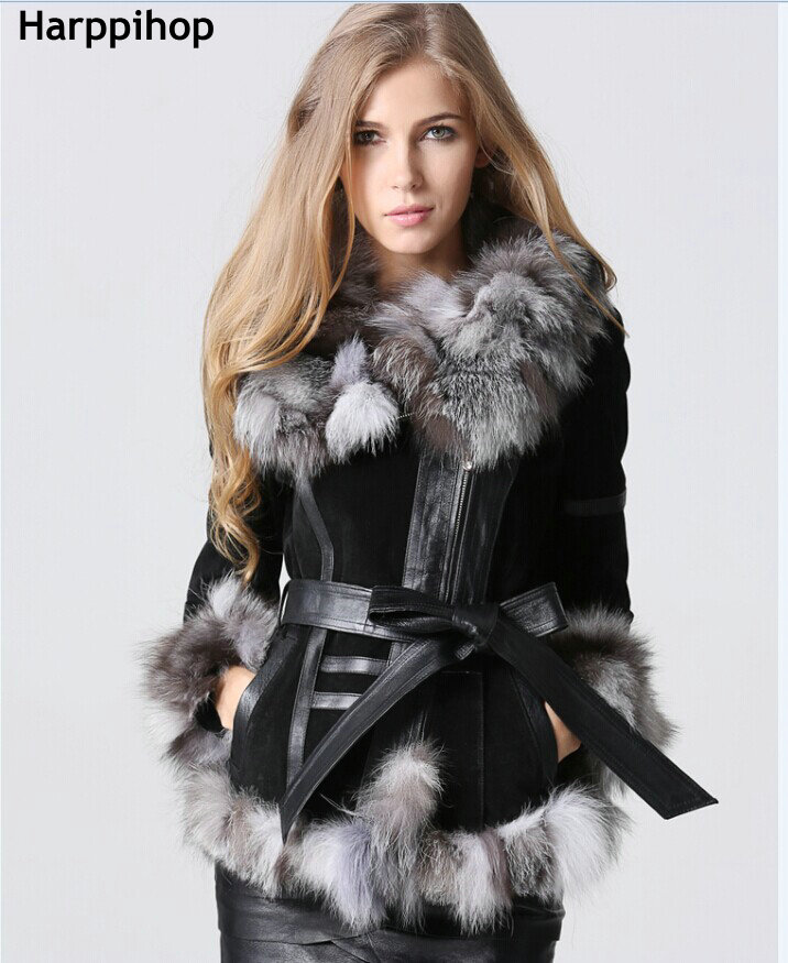 HARPPIHOP fur 2017 Winter Lady pig Leather Coat Jackets with big Fox Fur collar Outerwear Coats Warm Overcoats Female Fur jacket