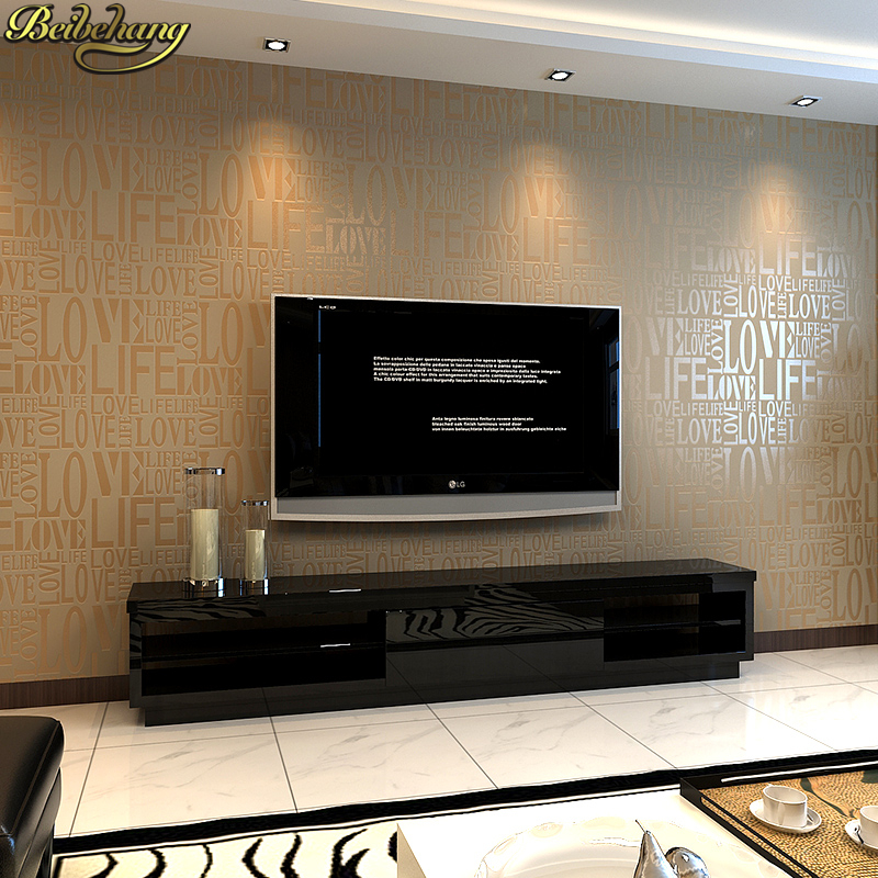 beibehang papel de parede 3D Brown Gray Pink Beige White Flock Words Textured Letters wallpaper Embossed