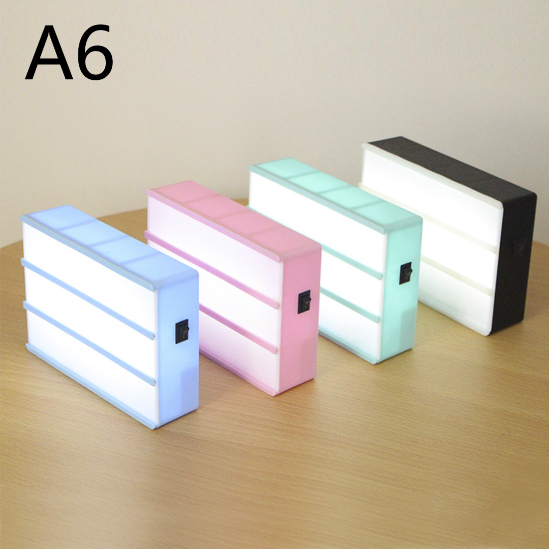 LED Combination Night Light Box Lamp A4 A6 Size DIY BLACK Letters Cards USB PORT Powered Cinema Lightbox