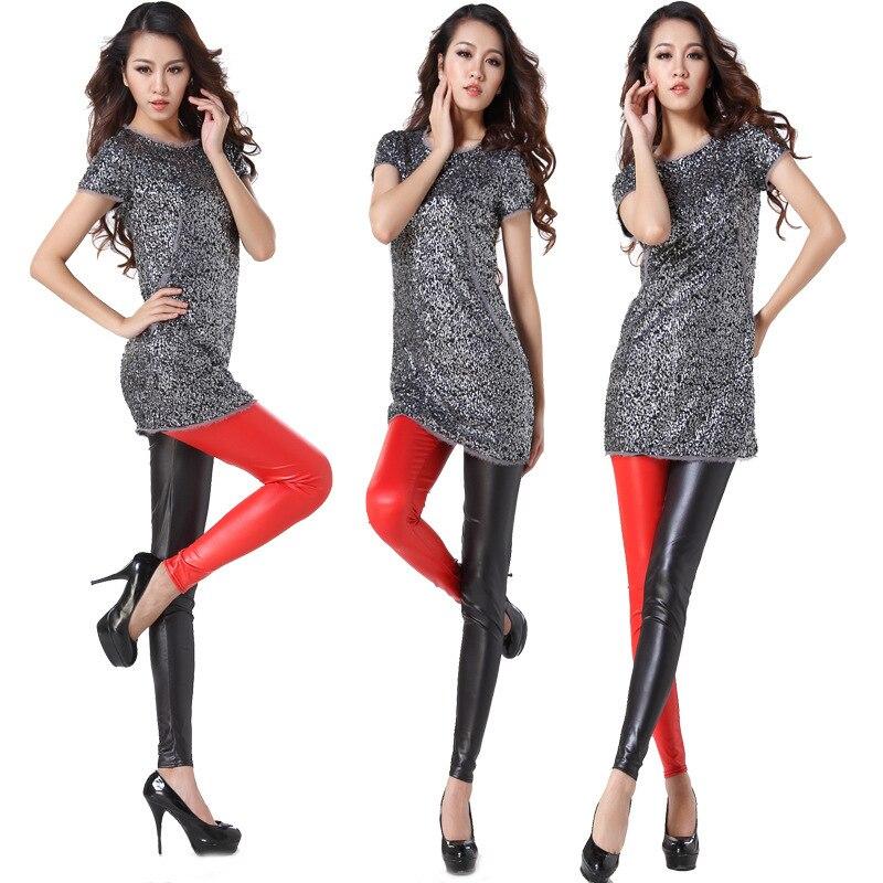 2017 Hot Euramerica spring and autumn new black white leather Printing pants nine sexy waist Leggings singular pencil Legin in Leggings from Women 39 s Clothing