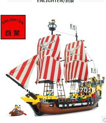 2016 qimeng 308 Pirate ship building block Longan Plastic Spells inserts the child toy Pirate king baby toys lepin 22001 pirate ship imperial warships model building block briks toys gift 1717pcs compatible legoed 10210