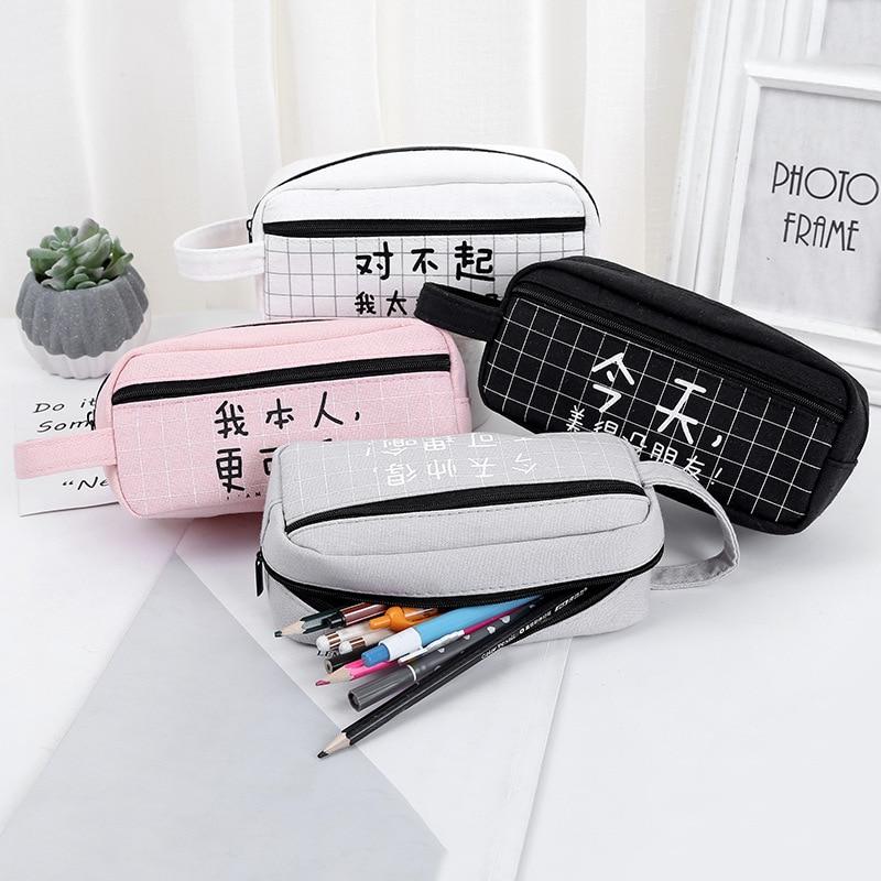 Creative Chinese Character Large Capacity Pencil Bag Canvas Pencil Case Kawaii Pencil Box Stationery School Supply