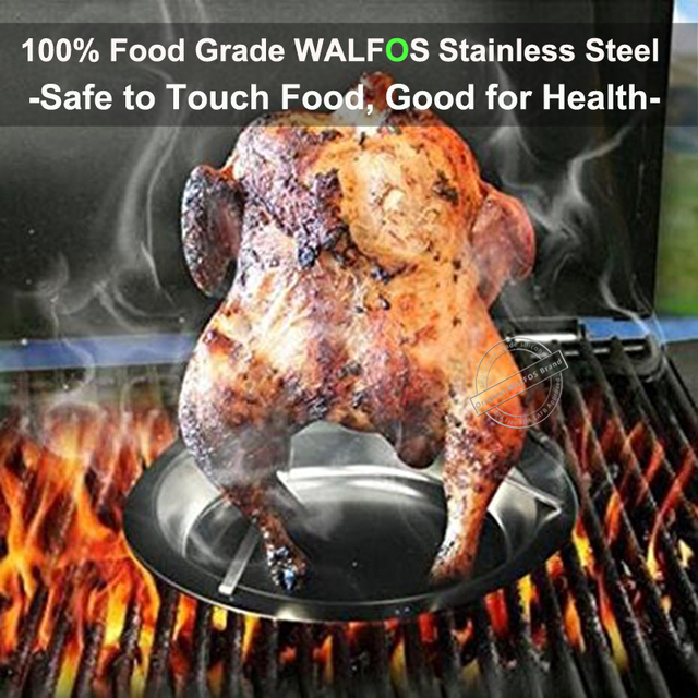Stainless Steel Chicken Holder Pan Upright Beer Roaster Rack Silver Baking Pan Grilled Roast Rack For Outdoor Camping BBQ