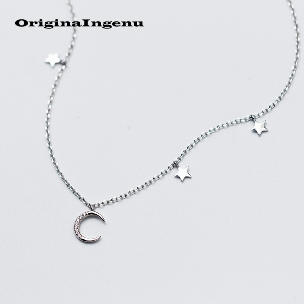 925 Silver Moon Necklace Jewerly Star Pendants Vintage Charms Creative Women Birthday Gift Chain Collier Femme Kolye Choker