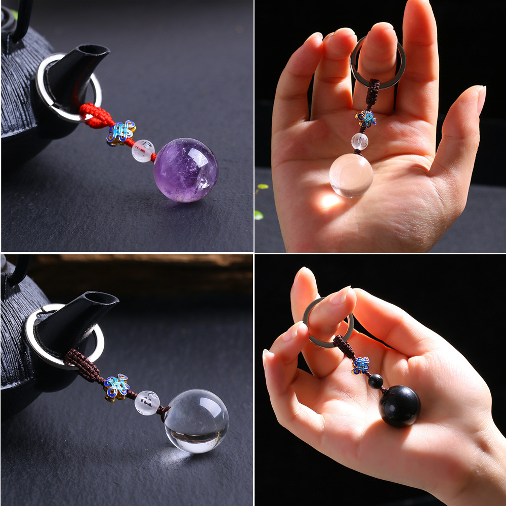 Fashion Natural Colorful White Purple Obsidian Crystal ball Keyring For Woman Handbag Car key Key Chain Girl Wedding Gift