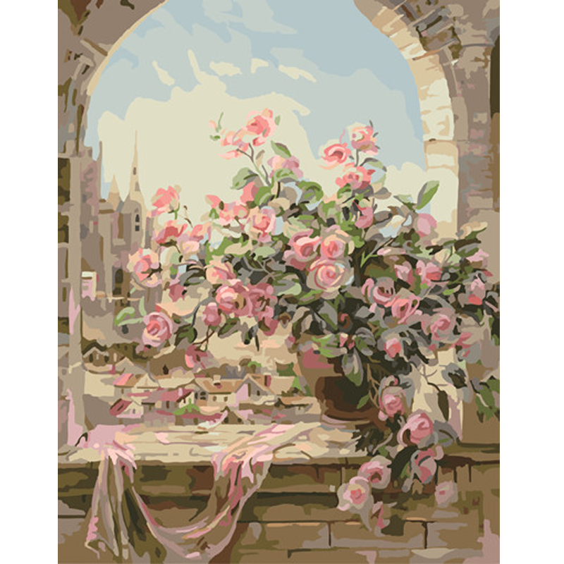 Frameless Canvas Art Oil Painting Flower Painting Design: Qluo Beautiful Flowers Pattern Digital Oil Paintng By
