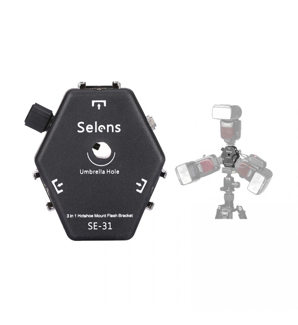 Prix pour Selens SE-31 3 hotshoes pour speedlite flash flash umbrella Light holder Stand Support avec déclenchement boucle
