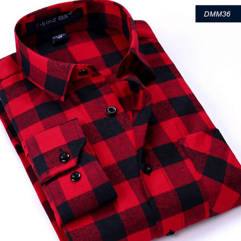 Men Business Pure Cotton Plaid Long Sleeve Casual Breathable Shirts