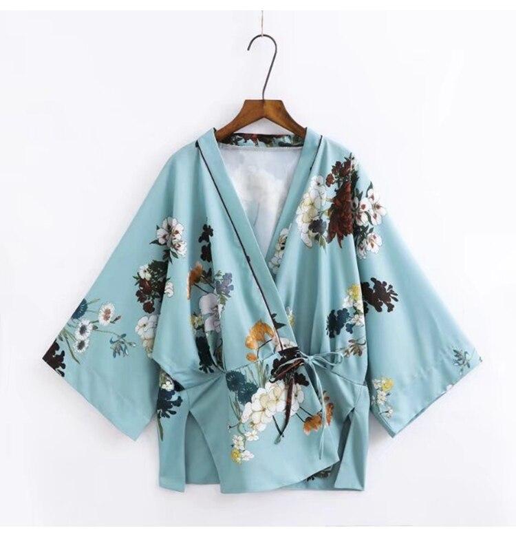 Air Conditioning sun shirt jacket elegant kimono print high waist wide leg pants suit pants TB86