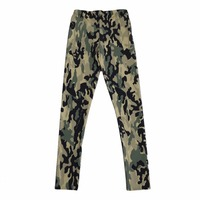Sexy Girl Army Green CAMO Camouflage Printed Elastic Slim GYM Fitness Women Sport Leggings Yoga Pants