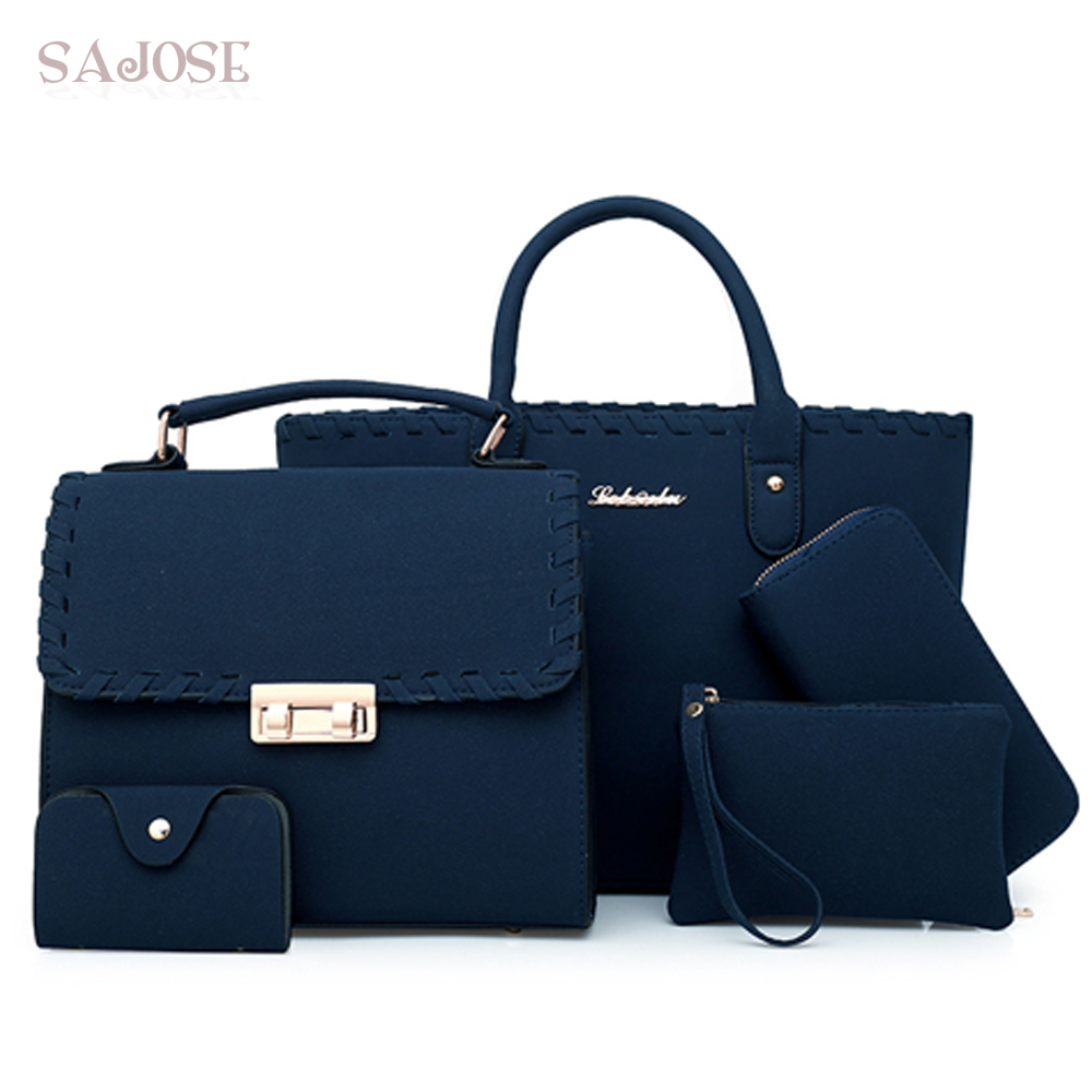 Women Bag 5 Piece Set Top-Handle Big Capacity Female Weave Handbag Fashion Shoulder Bag Purse Ladies PU Leather Crossbody Bag women bag set top handle big capacity female tassel handbag fashion shoulder bag purse ladies pu leather crossbody bag