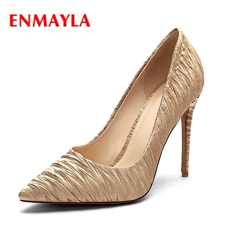 Delgado red Enmayla Zyl2129 Seda Punta Black gold Los Altos 34 De Slip Tacones sexy Casual blue Mujer 43 Zapatos Tamaño HIZIrqw