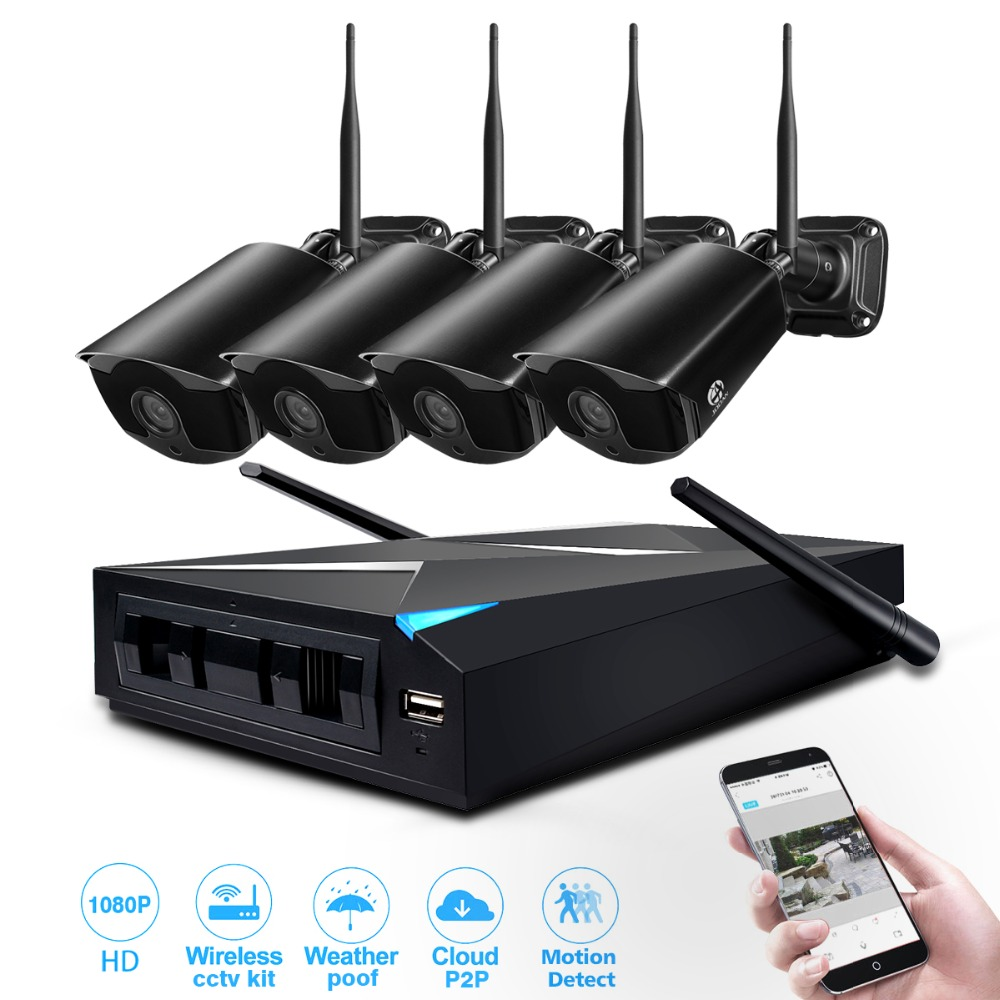 Wireless Security Kameras System 4 Kanal 1080p Video Recorder CCTV NVR Kit 4CH 2.0MP Indoor Outdoor Kamera Video Überwachung