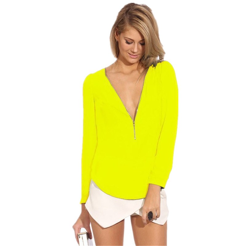 Hot Sale 2018 Women Blouses Zip Shirt Casual Long Sleeve V Neck Solid Color Blouse Spring Summer Autumn Femal Blouses in Blouses amp Shirts from Women 39 s Clothing