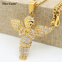 Hip Hop Iced Out CZ 18k Gold Plated Mini Pray Guardian Baby Angel Pendant Stainless Steel