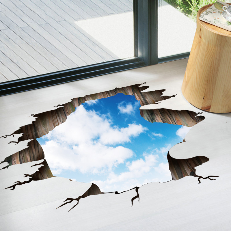 Blue sky clouds 3D Wall Stickers Vinyl white clouds Wall Decals for Kids Room Baby Bedroom Floor Ceiling Decoration