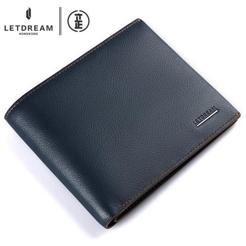 ФОТО Wallet & Purse Genuine Leather Men's Bulls Vintage Grazy Horse Cowhide Leather Money Clip Long Purse Vintage Designer Soft Short