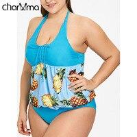 CHARMMA Pineapple Bikini Swimsuit Women Plus Size Tankini Set Halter Swim Beach Wear Bathing Suits Monokini