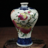 Exquisite Chinese Collectible Small Auspicious Porcelain Vase Painted with Peaches and Flowers