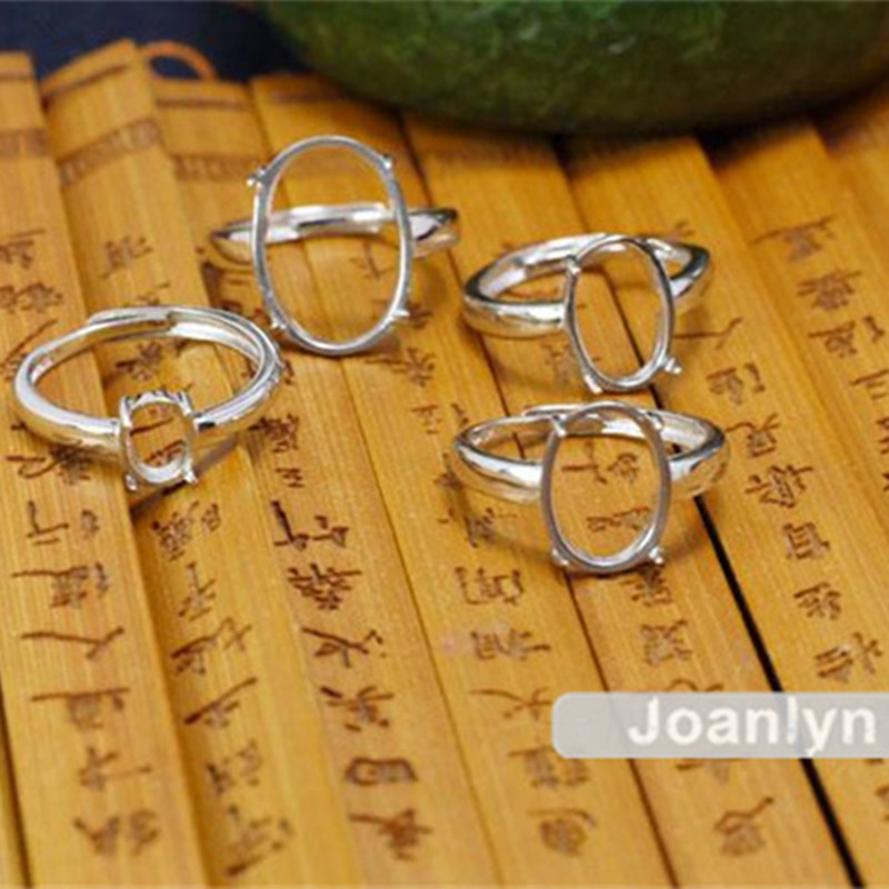 Joanlyn Ring Blank For 6x7mm/7x9mm/9x11mm/10x12mm/12x16mm/13x18mm Oval Cabochons 925 Silver Adjustable Band Ring Base JZ006