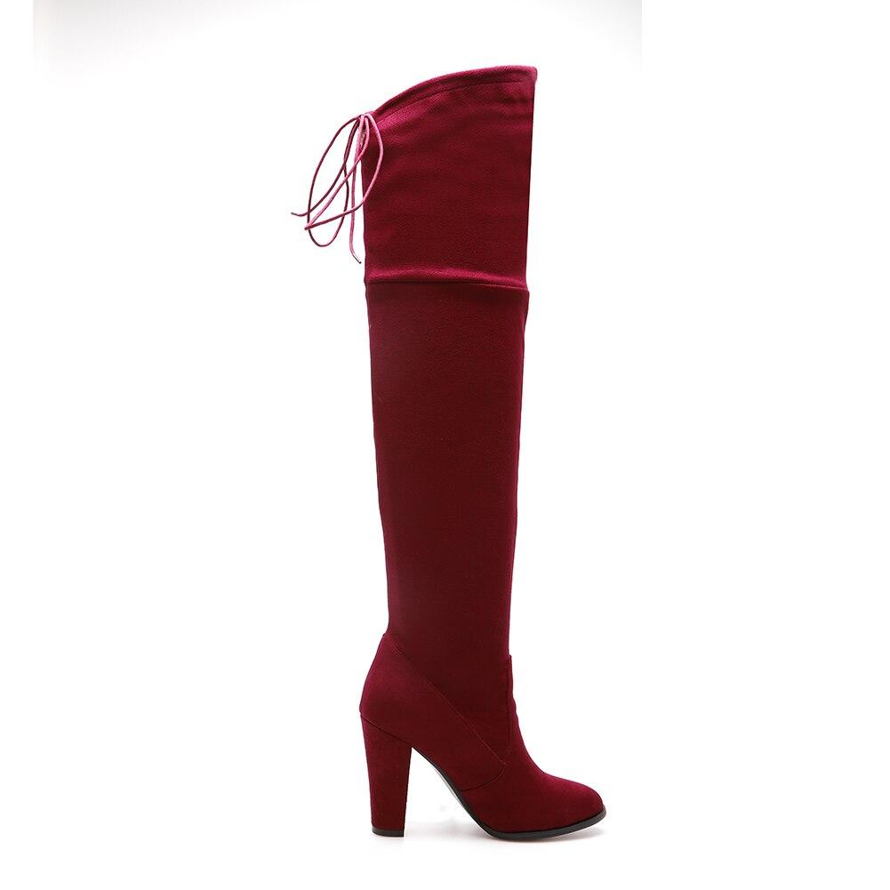 Doratasia Tailles Femme En Rouge 46 Bottes 32 vin Longues Peluche D'hiver Talons Chaussures Grandes Marque Femmes Spike Parti gris Conception De Noir wrnqpOxSw4