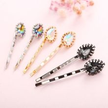 Luxury Retro Imitation Crystal Diamond Hairpin Ladies Metallic Rainbow Colored Glitter Jewelry Hair Clip Styling Barrette