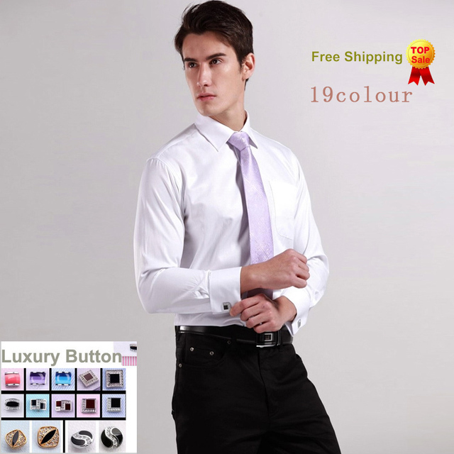 Luxury French cuff Button MENS Dress Shirt 2016 New Fashion Non Iron Long Sleeve slim striped High Quality Business formal Shirt
