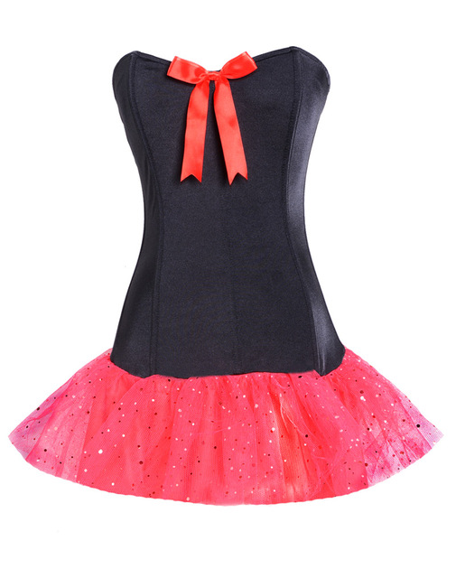c2c913fcbb Women one-piece Cute Corset Tutu feature strapless bustier corset top with red  satin bow attached tutu skirt