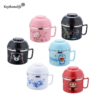 Keythemelife Cartoon Lunch Boxes Japanese Lunchbox Stainless Steel Bowl Double Layer Insulation Instant Noodles Bowl With