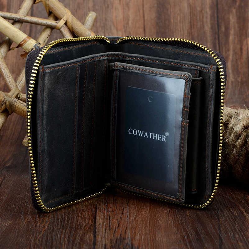 COWATHER top qualidade cavalo louco genuíno couro de vaca homens carteiras para homens bolsa masculina carteira masculina de luxo marca original