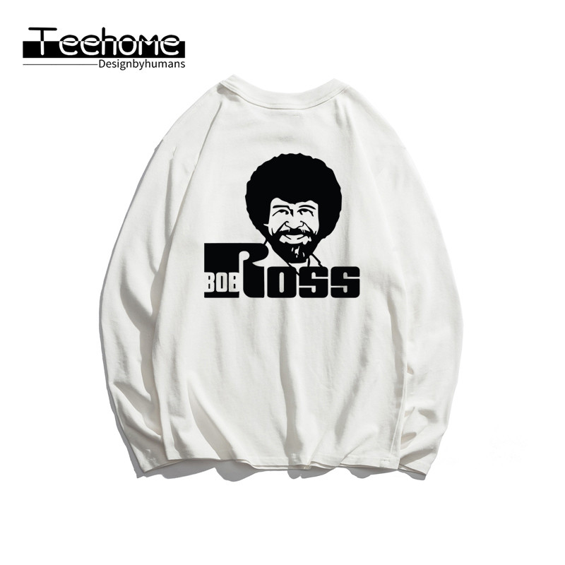 Men's Bob Ross Happy Trees Print Long Sleeve Autumn Men and Women Full Sleeve Harajuku T Shirt Winter Streetwear