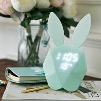 Smart alarm clock Digital display Voice control with LED night light Creative wall hanging bunny decoration Digital alarm clock