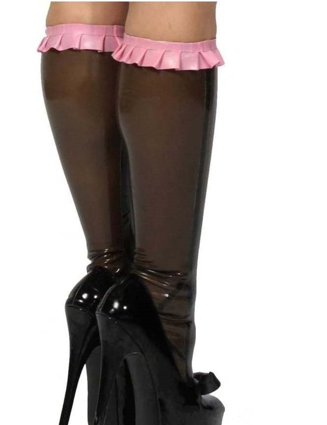 Latex Frilled Knee Socks Hogh Quality Latex Stockings Transparent Brown With Pink