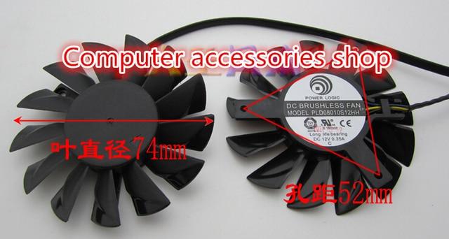2pcs/lot 75mm 3X52mm NEW Original graphics card fan FOR MSI GTX660 GTX670 GTX680 PLD08010S12HH DC12V 0.35A 4Pin