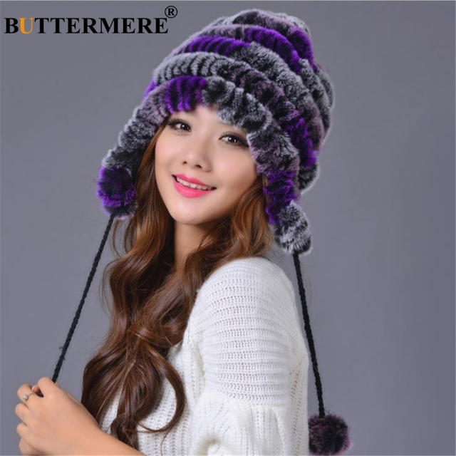 BUTTERMERE Rabbit Fur Russian Ushanka Hats Women Real Fur Bomber Beanies Hat  PomPom Purple Winter Female Ear Flaps Trapper Hat fa991d957ef