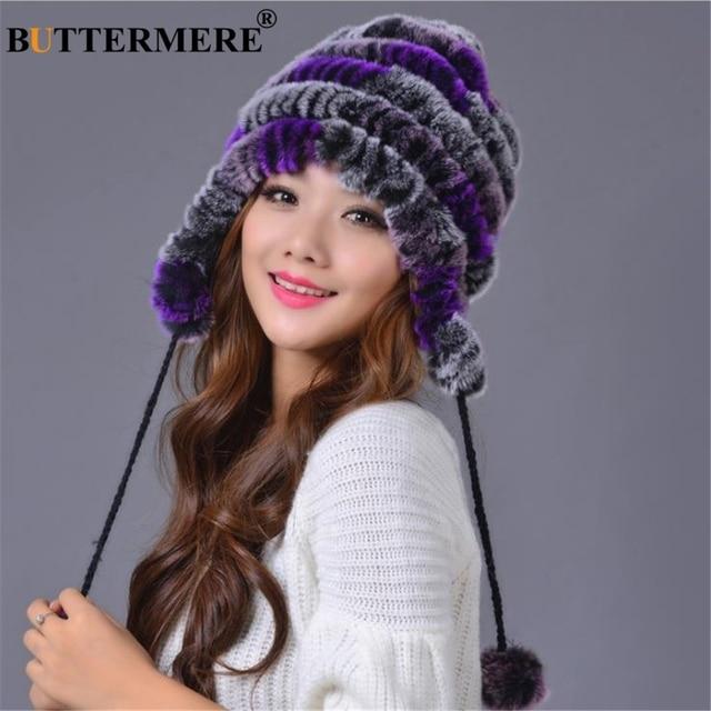 dd832d5829a BUTTERMERE Rabbit Fur Russian Ushanka Hats Women Real Fur Bomber Beanies  Hat PomPom Purple Winter Female Ear Flaps Trapper Hat
