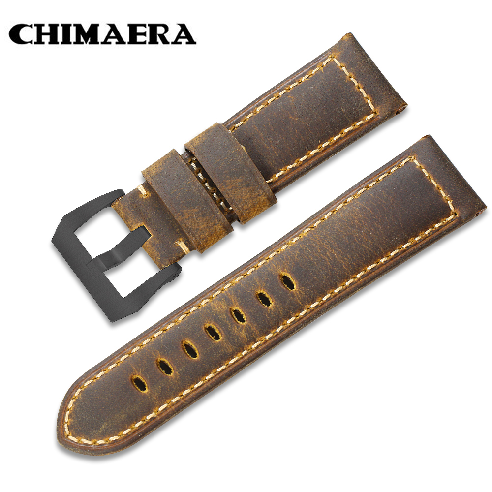CHIMAERA Durable Vintage Genuine Leather Watch Band Strap Pre-v Buckle Option Mens  Bracelet Watchband Strap for Panerai  24mm 24mm handmade black red stitched genuine calf leather watch strap band for deployment buckle watchband strap for panerai pam