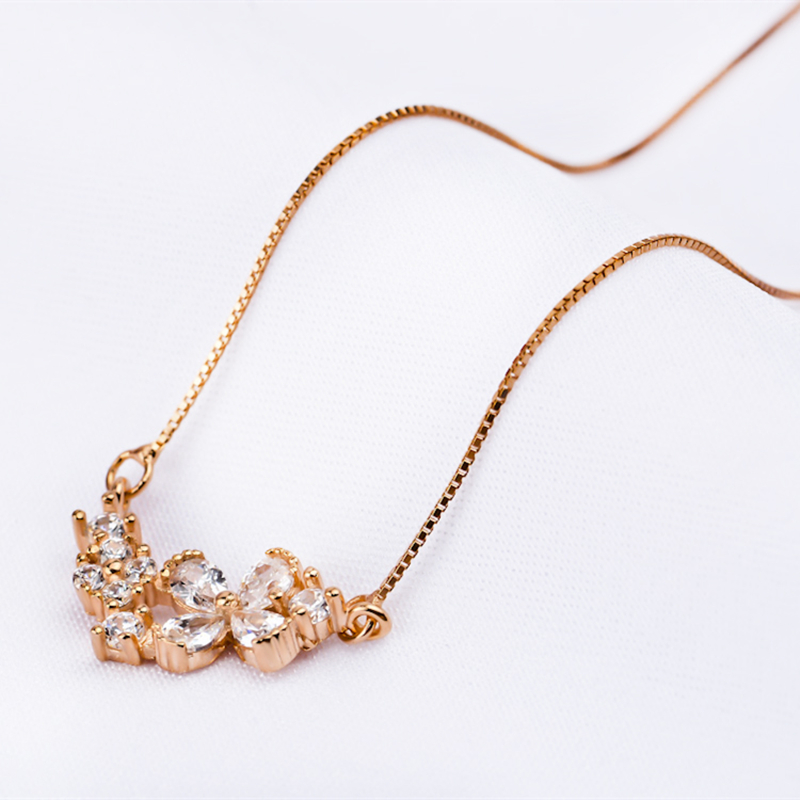 Genuine 925 Sterling Silver Jewerlry Cubic Zirconia Flower Pendants Necklaces Women Jewelry Rose Gold Color Necklace GNX0228