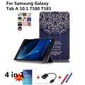 Новый Цветной рисунок Кожаный Чехол capa para для Samsung Galaxy Tab 10.1 T585 T580 Tablet PC Флип Чехол PC + film + стилус + OTG