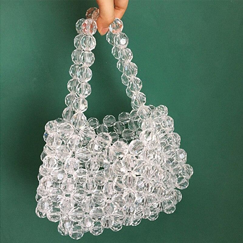 Super Cristal Pur La Populaire Sac Main Dame Transparent Handba Main À Perles zBBw7Iq