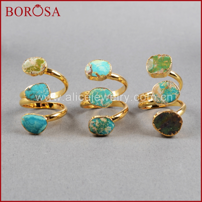 BOROSA Bohemia 100% Natural Blue Stone Drusy Rings, Vintage Boho Ring, Fashion Gold Color Quartz Druzy Rings for Women G0280