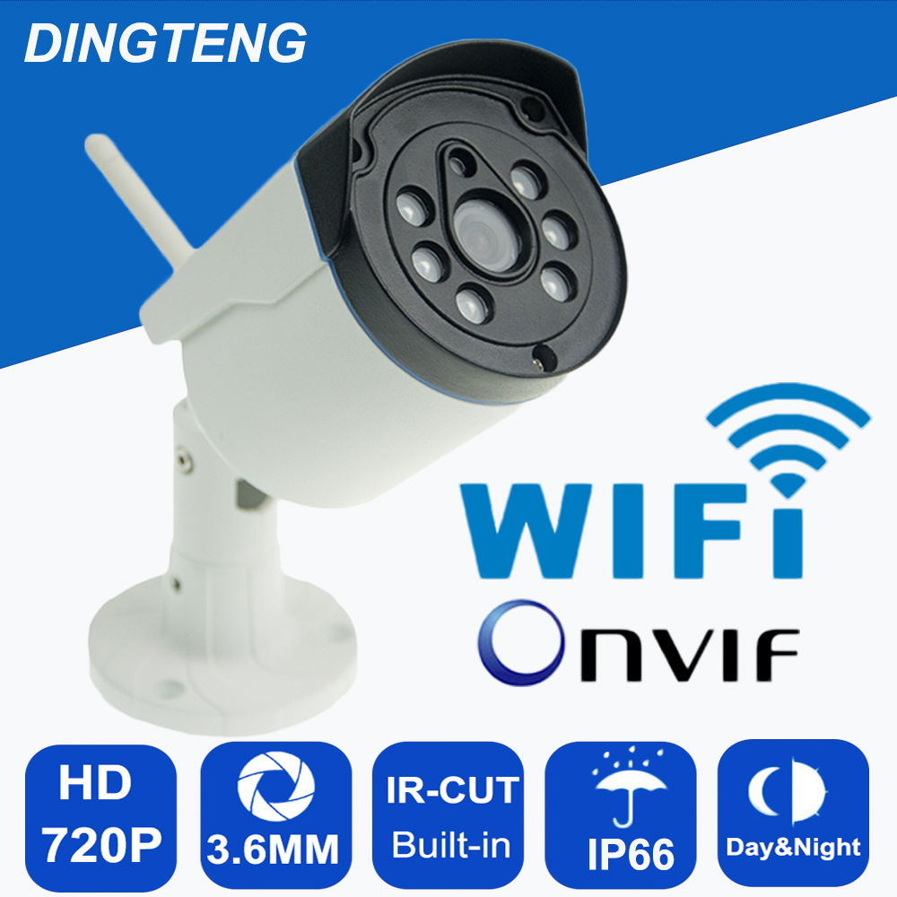 IP66 Waterproof Outdoor/Indoor Bullet IP Camera Wifi Wireless IP Cam 720P  Optional ONVIF Camera With TF Card Slot CCTV Camera ptz wifi 1080p ip camera outdoor onvif wireless 2mp bullet with audio camera micro sd card in optional android iphone view