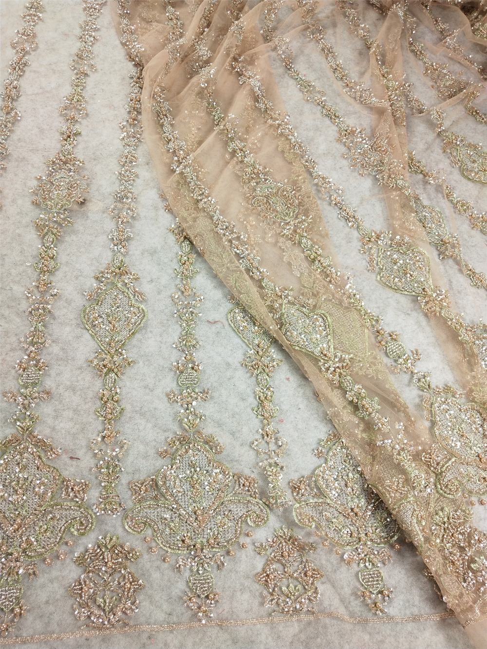 French lace fabric 5yds/pce by dhl gold hand heavy beads&sequins fabrics for women gorgeous dresses high qaulity designs 2019