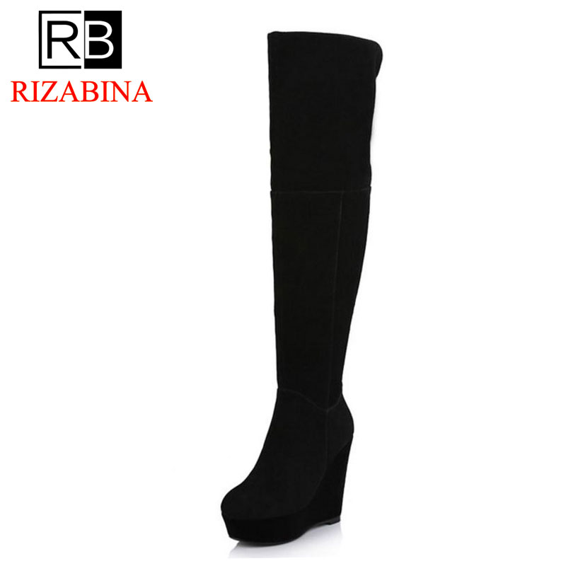 RizaBina Free shipping over knee natrual genuine leather wedge boots women snow winter warm boot shoes R1785 EUR size 34-39 free shipping 95 97 id 108672 108962 size eur 40 46