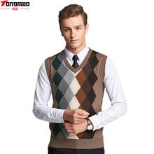 Herbst herren Business Wolle V-ausschnitt Ärmelloses Strick Weste Mode Lässig Argyle Hochwertigen Dünne Strickjacke